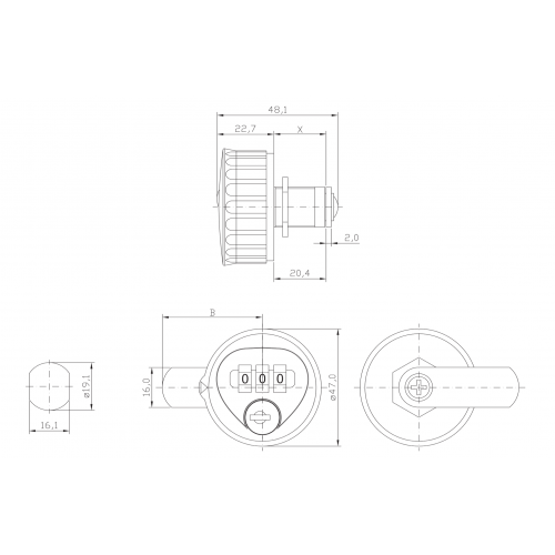 Combination Lock A170 Technical Drawing